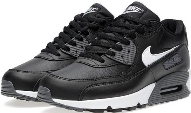 df191a45 Кроссовки мужские Nike Air Max 90 Premium Leather | Найк Аир Макс 90  премиум мужские кожаные черные
