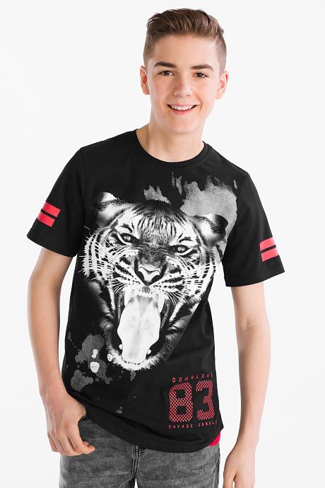 Черная футболка с тигром на мальчика подростка C&A Германия Размер 158-164