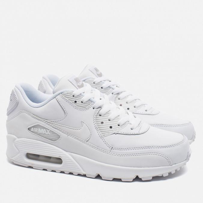 15ee6def Кроссовки мужские Nike Air Max 90 Leather All White | Найк Аир Макс 90  Лезер кожаные