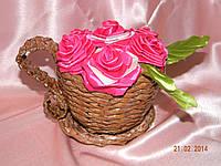 Чашка с цветами (коричневая)