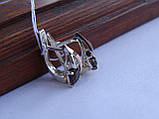 Серебряные серьги с золотой пластиной и раухтопазом, фото 6