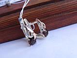 Серебряные серьги с золотой пластиной и раухтопазом, фото 7