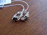 Серебряные серьги с золотой пластиной и раухтопазом, фото 8