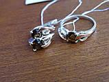 Серебряные серьги с золотой пластиной и раухтопазом, фото 9