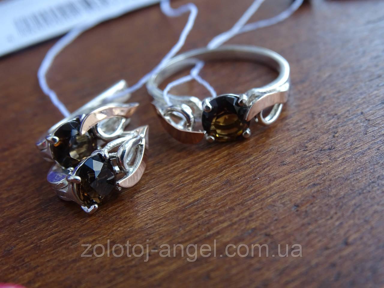 Серебряные серьги с золотой пластиной и раухтопазом