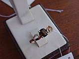 Серебряные серьги с золотой пластиной и раухтопазом, фото 10