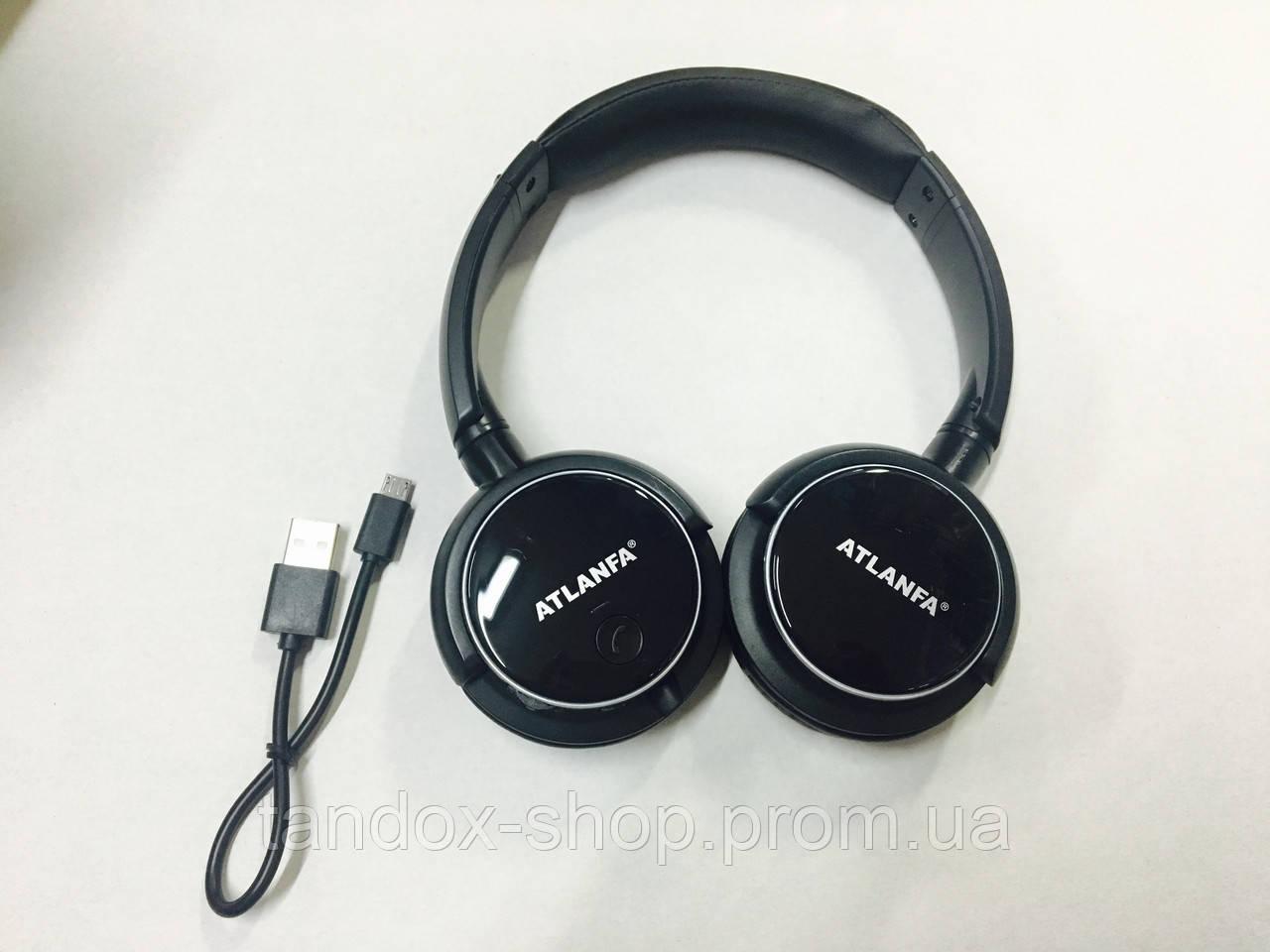 Наушники беспроводные Bluetooth Atlanfa (Черные, встроенное радио, SD