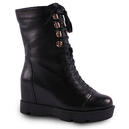 Женские ботинки Brocoly(зимние, кожаные, на шнуровке, на танкетке, удобная  подошва, стильные, черные) 8d97325ab1f