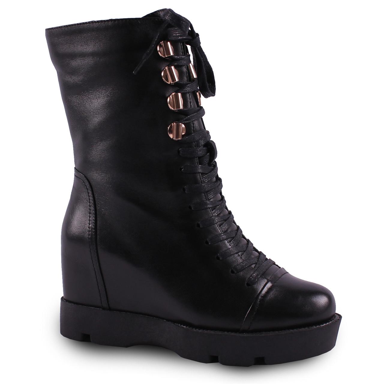 Женские ботинки Brocoly(зимние, кожаные, на шнуровке, на танкетке, удобная подошва, стильные, черные)
