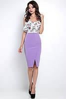 Модная юбка-карандаш Gabriel с кокеткой и запахом спереди 42-48 размер сиреневая, фото 1