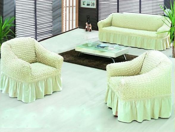 Чехол на диван и 2 кресла универсальный, сливочный