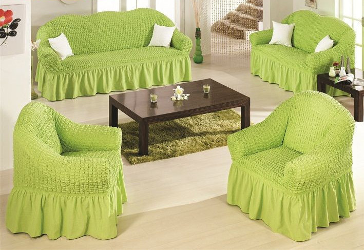 Чехол на диван и 2 кресла универсальный, салатовый