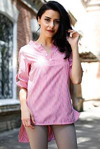 Рубашка TORRI в красно-белую полоску прямого кроя удлинённая сзади