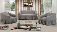 Чехол на 3-х местный диван + 2 кресла ESV VIP светло-серый, фото 1