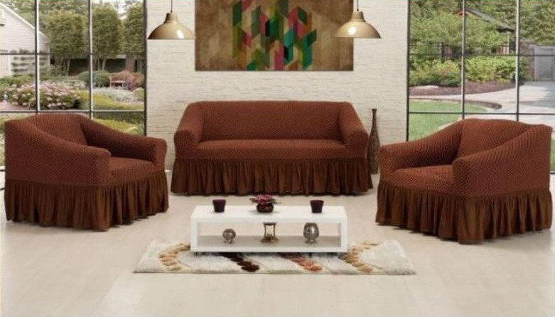 Чехол на диван + 2 кресла СОТЫ, шоколадный