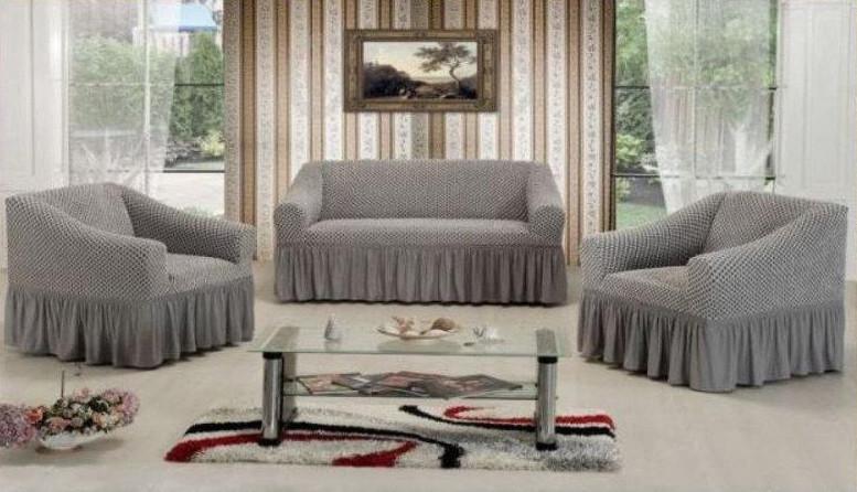 Чехол на диван + 2 кресла СОТЫ, серый