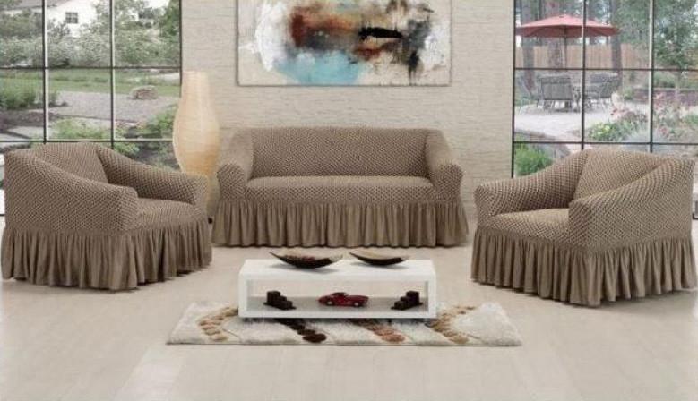 Чехол на диван + 2 кресла СОТЫ, светло-бежевый
