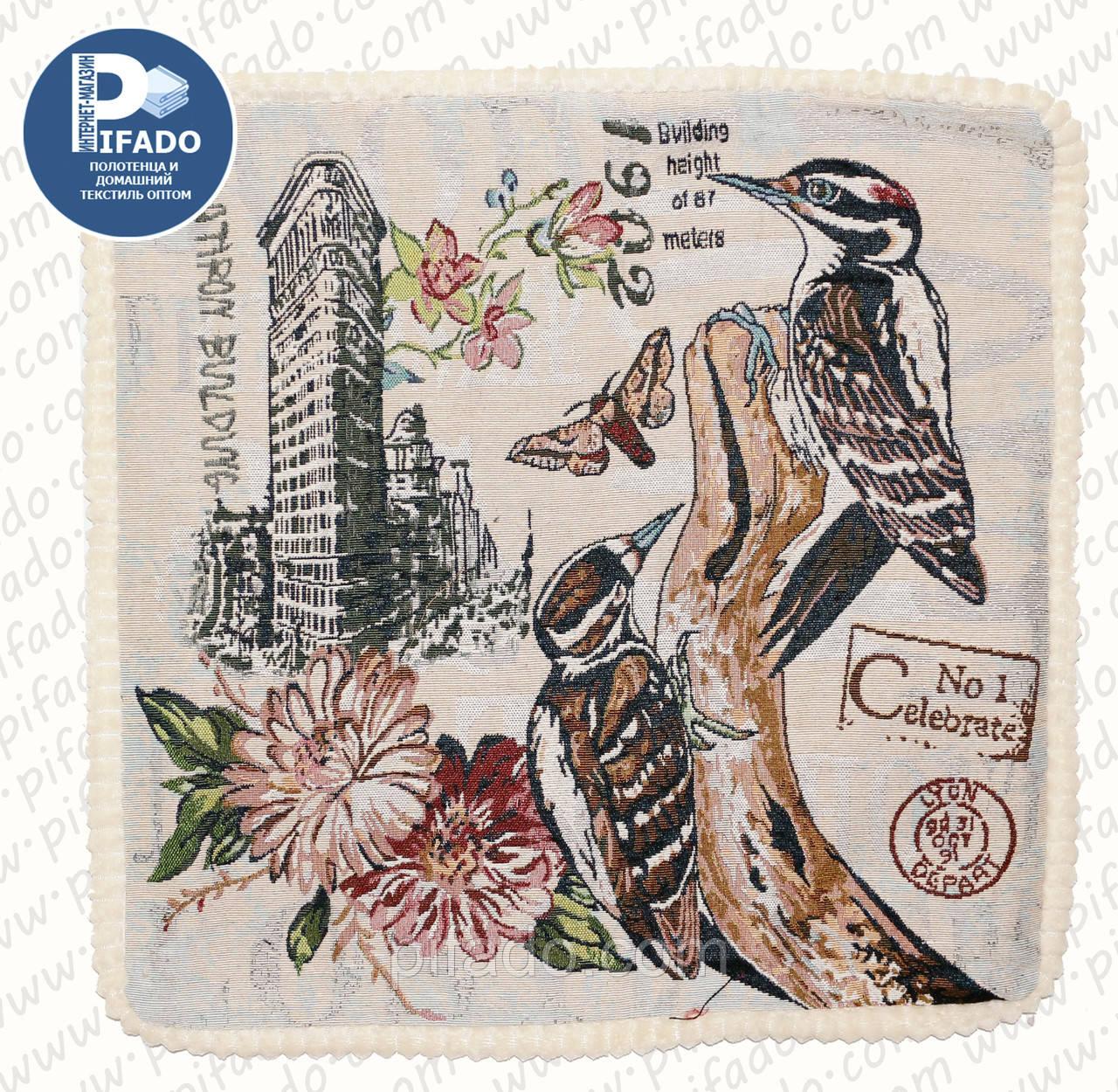 Декоративна наволочка вишивкою Дятли (гобелен) 50х50. Модель HD01-8