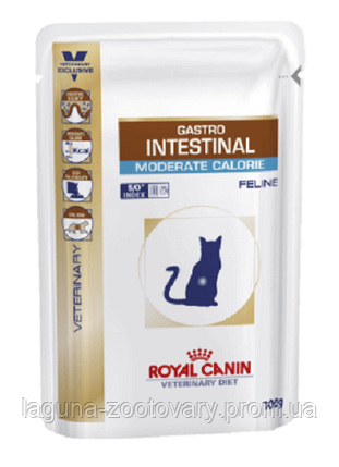 Влажный корм для кошек при нарушениях пищеварения, 100гр/ Роял Канин GASTRO INTESTINAL MODERATE CALORIE FELINE, фото 2