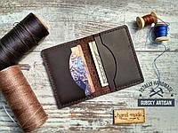 Кредитница мини кошелек карт холдер из натуральной кожи crazy horse, фото 1
