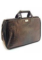 Большая дорожная сумка саквояж из коричневой искусственной кожи