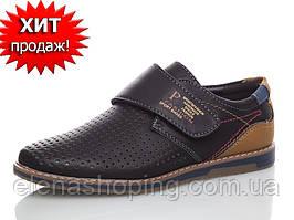 Стильні чорні туфлі-мокасини для хлопчика (р 34-22,5 см устілка)