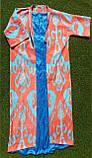 Хлопковое летнее пальто из иката ручного ткачества. Маргилан, Узбекистан, фото 2