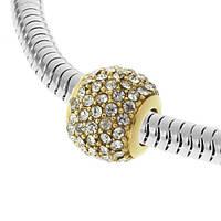 Позолоченная бусина на браслет Pandora с фианитами 129694