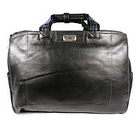 Большая дорожная сумка из черной искусственной кожи с полиэстером. Сумка-саквояж.