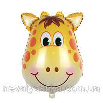 Шар Воздушный Фольгированный Шарик Надувной Фигура Жираф 60 см Голова Животные Шары MK 1332