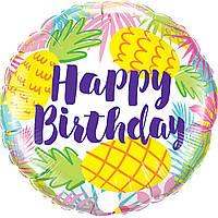 Шар фольгированный круглый Happy Birthday ананасы (Китай)