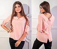 Блузка с пуговицами на спине ( арт.116),ткань бенгалин, цвет розовая пудра, фото 1