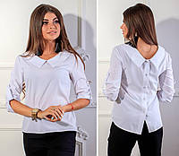 Блузка с пуговицами на спине ( арт.116),ткань бенгалин, цвет белый, фото 1