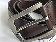Мужской кожаный ремень Timberland под джинсы, длина 105-125 см. Цвет черный