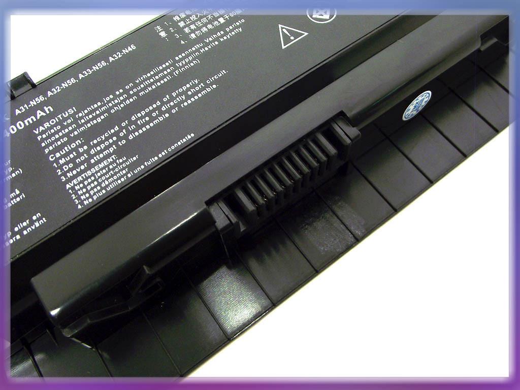 Аккумулятор ASUS (A32-N56, A31-N56) N56VZ (10.8V 4400mAh). Black. 3