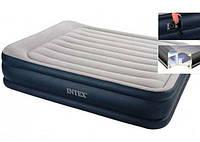 Надувная кровать двуспальная велюровая Intex 64136 с электронасосом 220V