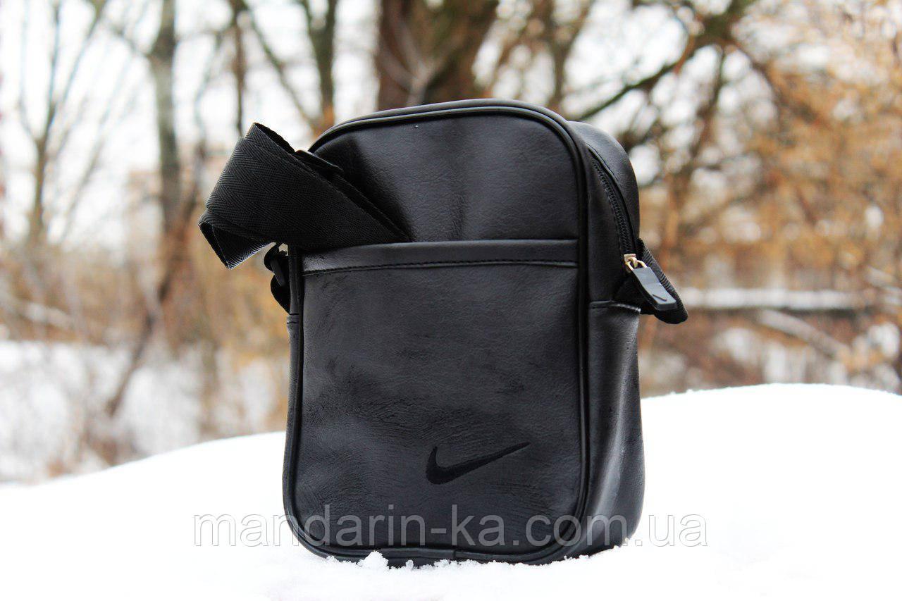 Мужская  городская сумка мессенджер Nike (Найк) серая  (реплика)