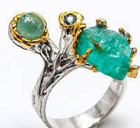 Апатит, изумруд, кольцо с натуральным апатитом изумрудом 18,5-19 размер Тайланд, фото 1
