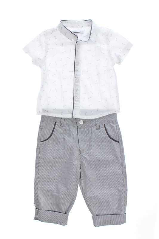 Костюм нарядный (Франция) комплект рубашка и брюки на выписку крестины для  мальчика 6 мес элитное качество 30d55df035190