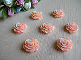 Серединка акриловая - Роза лаковая большая, цвет персиково-розовый  р-р - 2 см цена 20 грн - 10 шт, фото 2