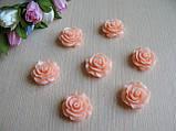 Серединка акриловая - Роза лаковая большая, цвет персиково-розовый  р-р - 2 см цена 20 грн - 10 шт, фото 3