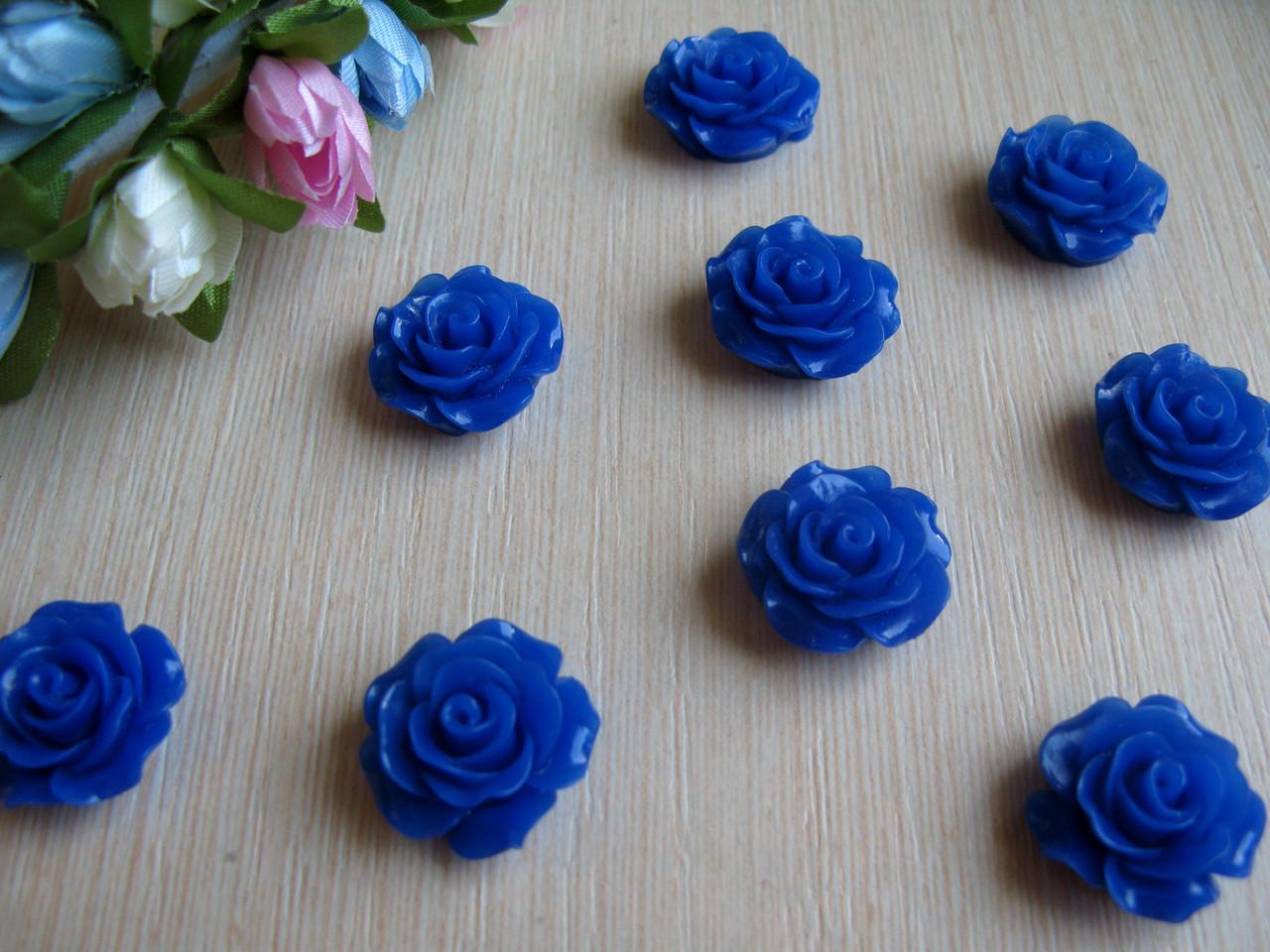 Серединка акриловая - Синяя роза малышка р-р - 9 мм цена 7.5 грн - 10 шт