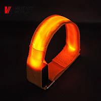 Светодиодный браслет на липучке, оранжевый