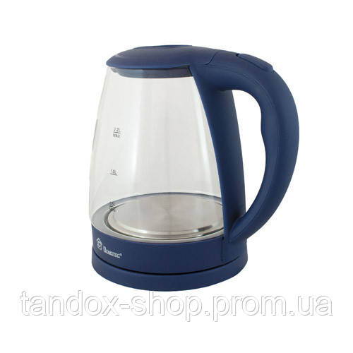 Стеклянный электрический чайник Domotec 2.2л, 2200Вт Темно-синий БЕСПЛ