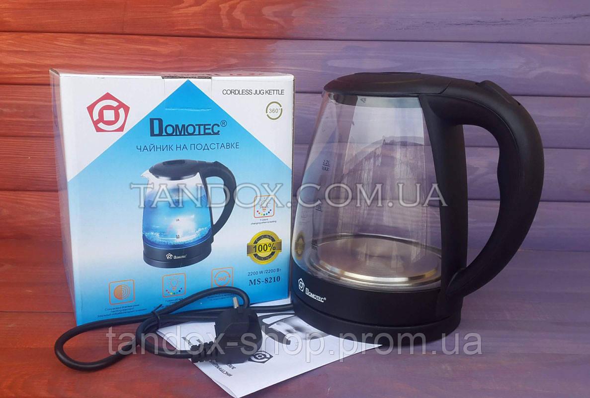 Стеклянный электрический чайник Domotec 2.2л, 2200Вт с цветной подсвет