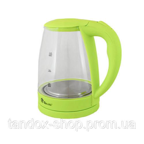 Стеклянный электрический чайник Domotec 2.2л, 2200Вт зеленый
