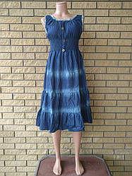 Платье летнее джинсовое на резинке большого размера XYL JEANS