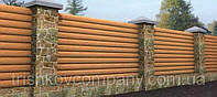 На забор и на фасад металлосайдинг бревно 3 D дуб printech 0,4 мм Китай,