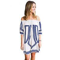 White Bohemian Vibe Geometric Print Off The Shoulder Beach Dress