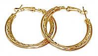 Булатные серьги-кольца с рифлением. Цвет: позолота. Диаметр: 4 см. Ширина: 5 мм.